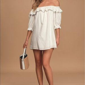 """Lulus """"Seeing You Smile"""" Striped Off-The-Shoulder"""